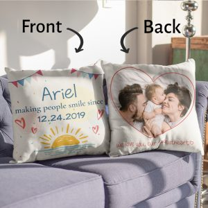 """""""Making People Smile Since"""" Custom Baby Name Pillow"""
