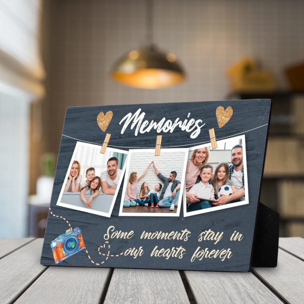 Memories Some Moments Say In Our Hearts Forever Custom Photo Desktop Plaque