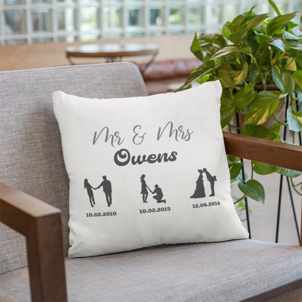 A Personalized pillow with Custom Silhouette Relationship Timeline