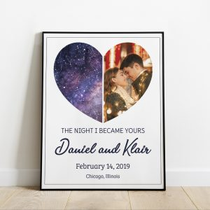 The Night I Became Yours Custom Star Map And Photo Art Print