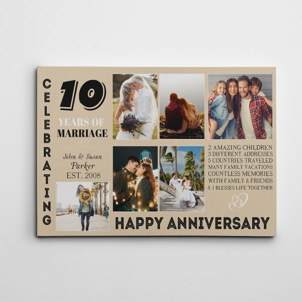 10 years of marriage photo collage canvas print