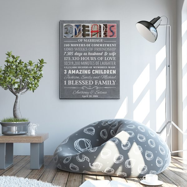 20 Years of Marriage Custom Letter Art Canvas Prin