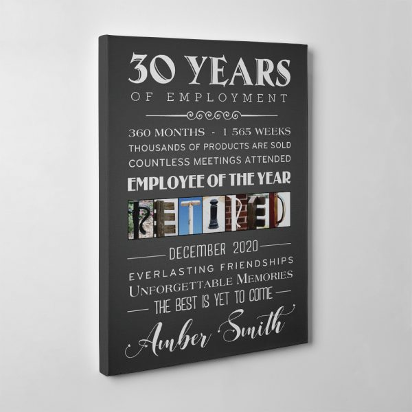 years of employment personalized retirement canvas print - retirement gift
