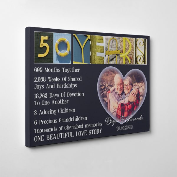 50 Years Wedding Anniversary Letter Art Canvas Print - Golden Anniversary Gifts For Parents