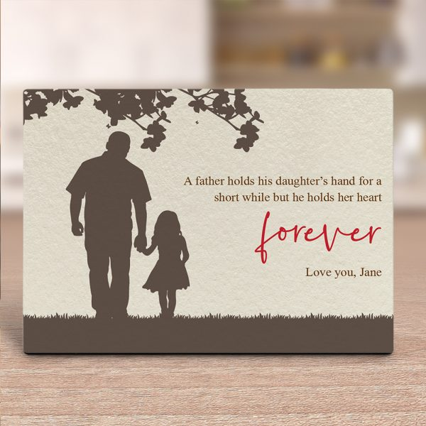 Father Holding His Daughter's Hand Silhouette Custom Desktop Plaque