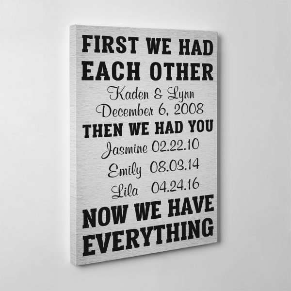 """""""First We Had Each Other Now We Have Everything"""" Family Dates Canvas"""