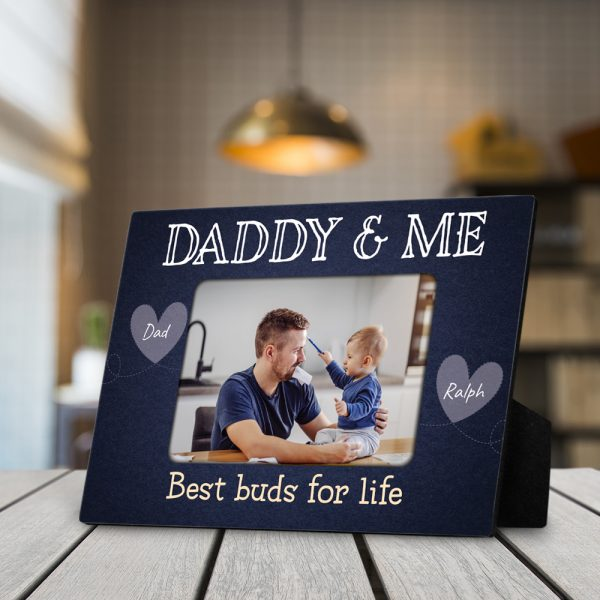 """Daddy And Me Best Buds For Life"""" custom photo desktop plaque"""
