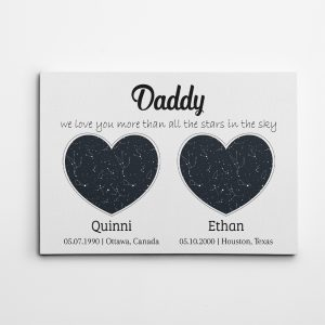 Custom Heart-Shaped Constellation Maps Canvas Print – Gift for Dad