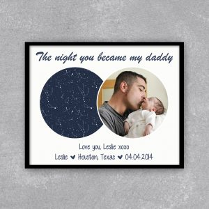 The Night You Became My Daddy Custom Star Map Print With Photo