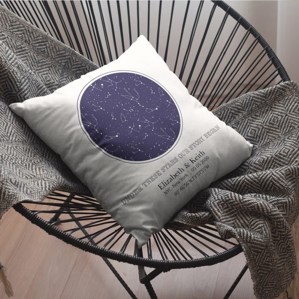 Under These Stars Our Story Began Custom Star Map Pillow