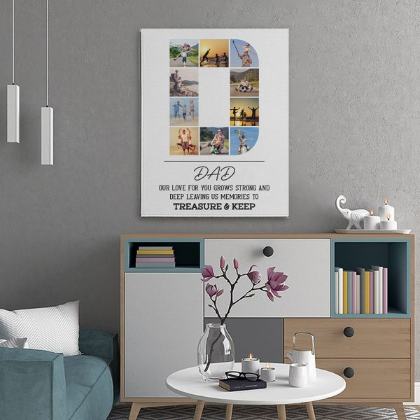 Dad Our Love For You Custom Photo Collage Canvas Print