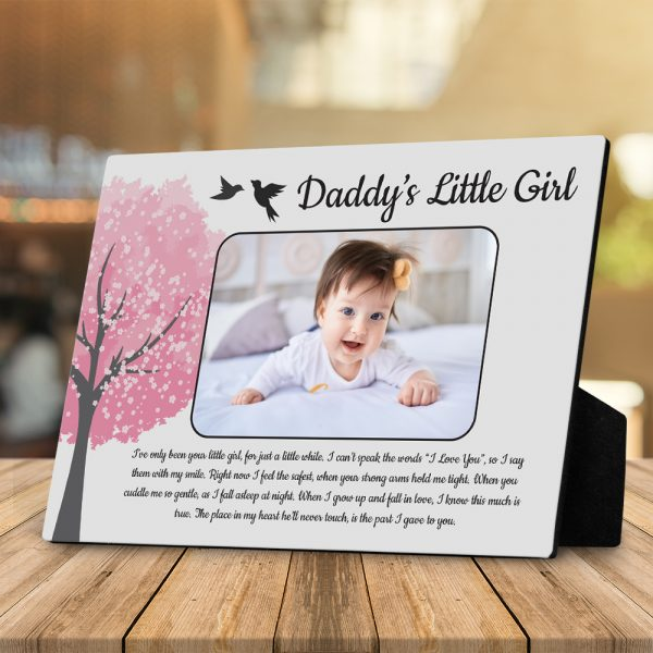 Daddy's Little Girl Custom Photo Desktop Plaque - Gift for Dad from Daughter
