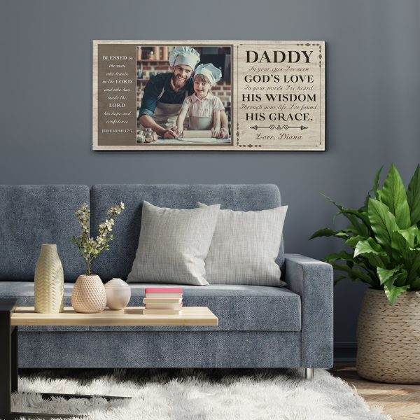 Daddy, In Your Eyes I've Seen God's Love Custom Photo Canvas Print