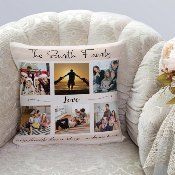 """""""Every Family Has A Story Welcome to Ours"""" Photo Collage Pillow"""
