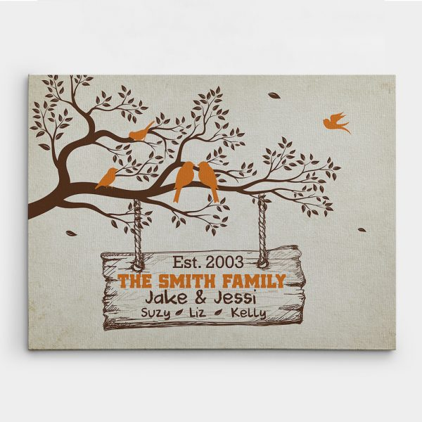 Family Tree Branch With Birds Canvas Print - Custom Family Names & Year