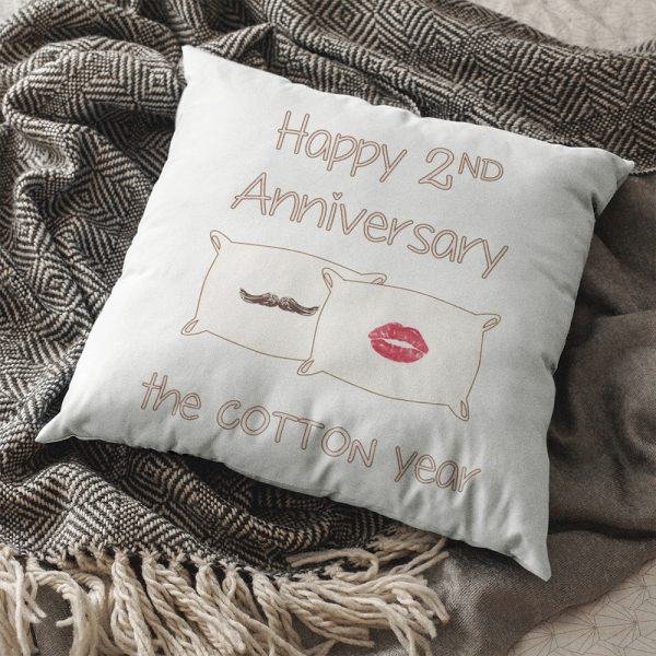 Happy Second Anniversary Throw Pillow