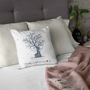Home Is Where Our Heart Is Name Personalized Family Tree Pillow