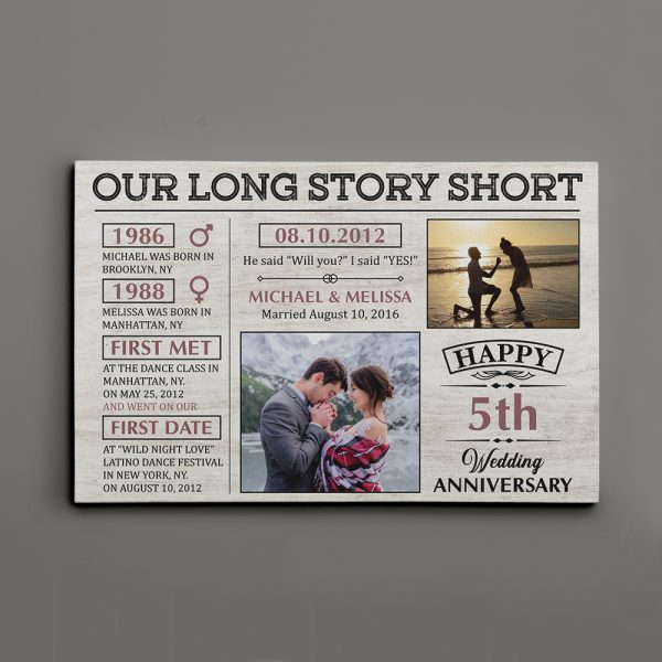 Our Long Story Short Save The Dates (5 Years) Photo Canvas Print