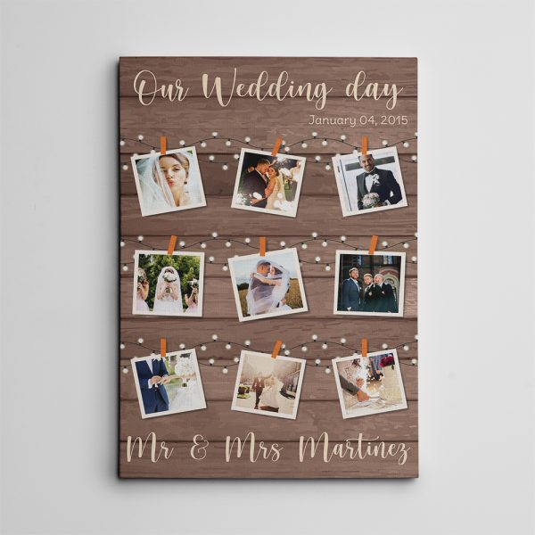 Our Wedding Day Collage Custom Canvas Print