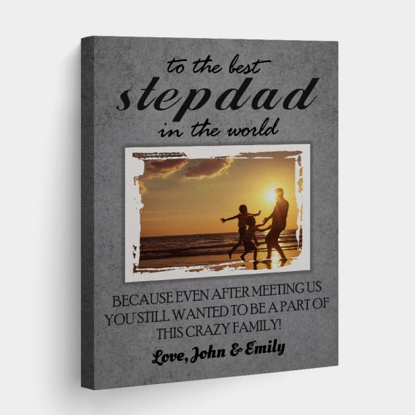 To The Best Stepdad In The World Photo Canvas Print 1