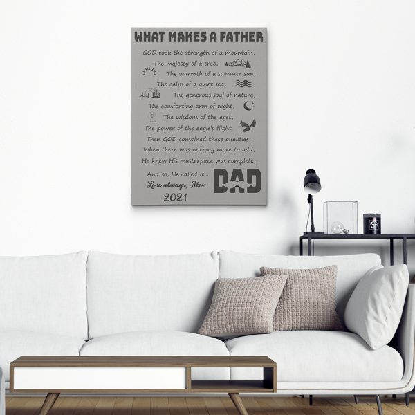 what makes a father poem canvas print