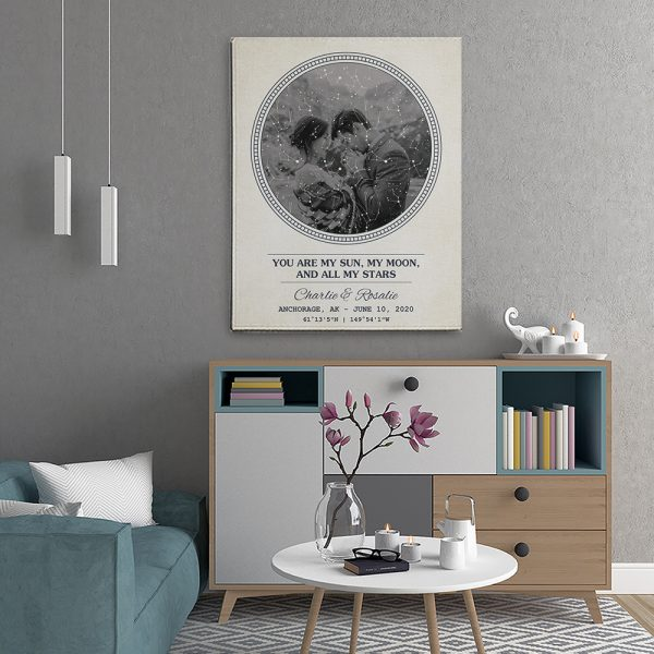 You Are My Sun, My Moon, And All My Stars 1st-Anniversary Star Map Photo Canvas Print