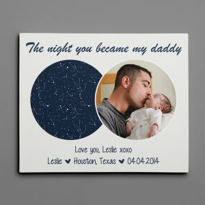 The Night You Became My Daddy Custom Star Map Photo Canvas Print