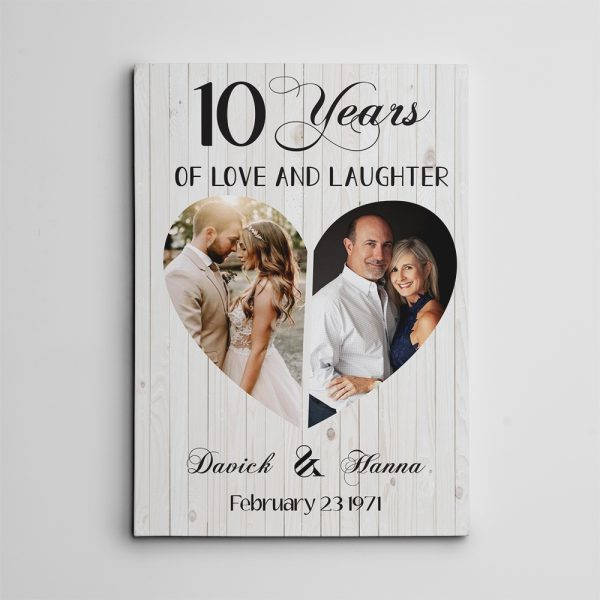 """""""10 Years of Love and Laughter"""" Photo Custom Canvas Print"""