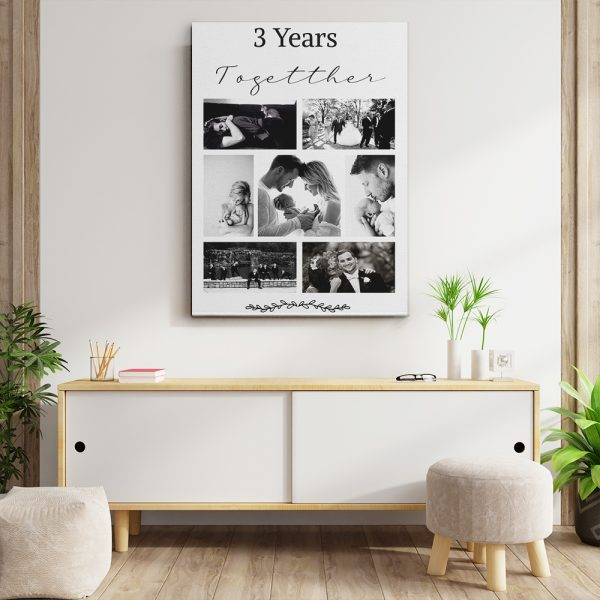 3 Years Together Photo Collage Canvas Print