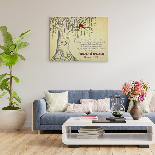 decorate living room with tree anniversary canvas print
