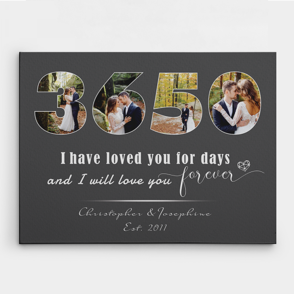 I Will Love You Forever 10 Years Custom Photo Canvas Print