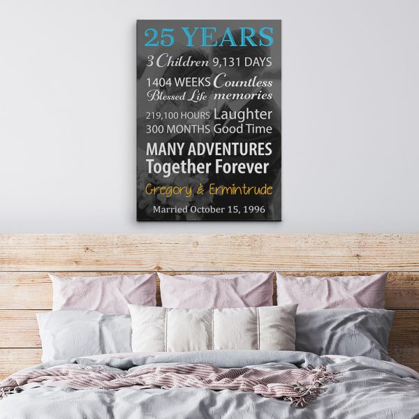 25 Years Black and White Photo Canvas Print