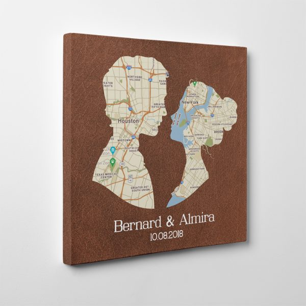 Couple Silhouette Map 3 Year Anniversary Canvas Print