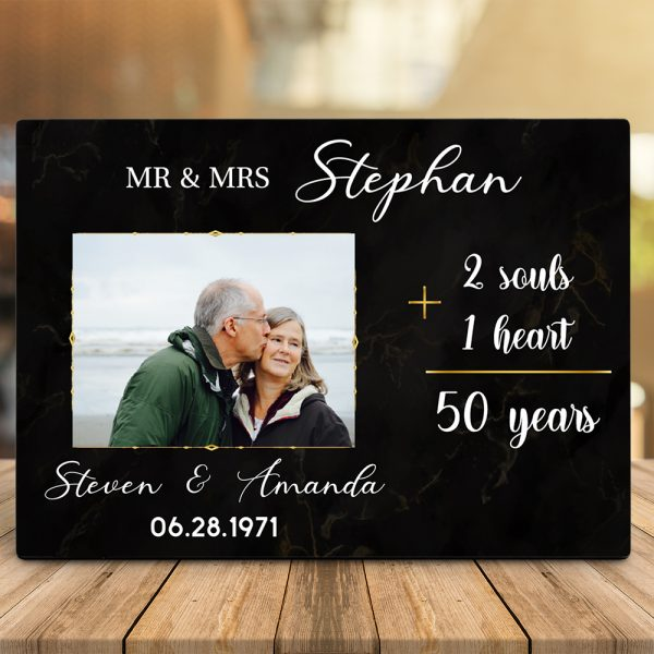 Two Souls, One Heart, 50 Years - 50th Anniversary Desktop Plaque - Design A