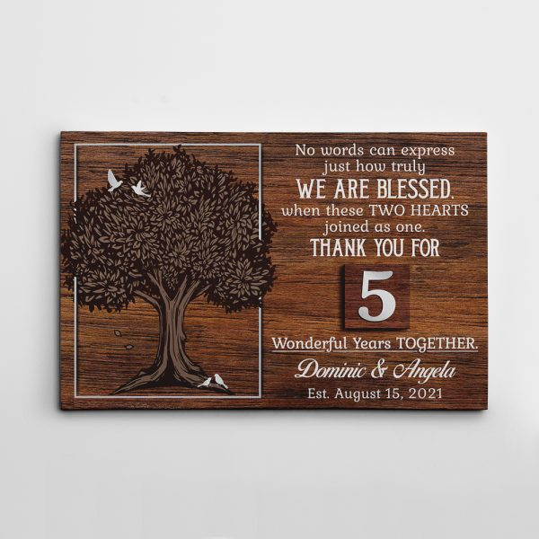 Thank You for 5 Wonderful Years Together Custom Canvas Print