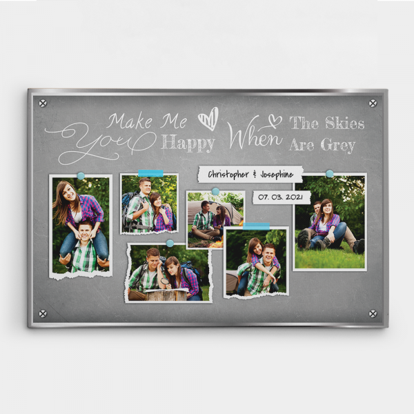 You Make Me Happy 6 Years Anniversary Photo Collage Canvas Print