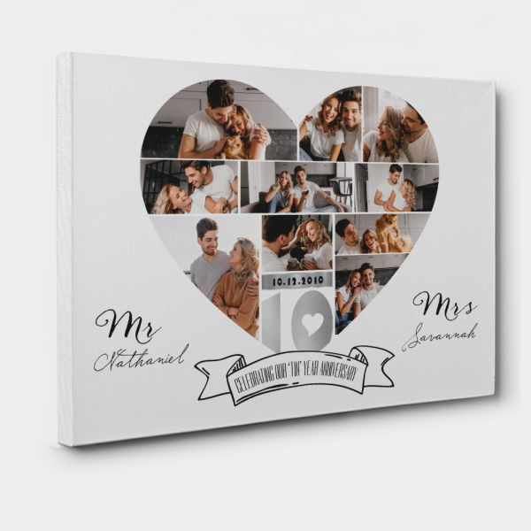 """Celebrating Our """"Tin"""" Year 10th Anniversary Photo Collage Canvas Print"""