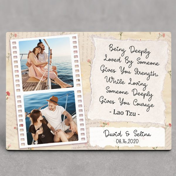 Being Deeply Loved By Someone Gives You Strength - 1st Anniversary Desktop Photo Plaque