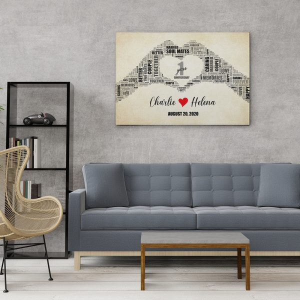 decor your home with 1st anniversary canvas print
