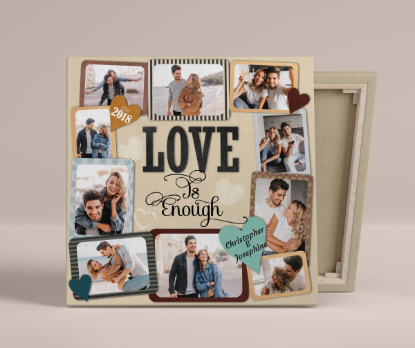 Love Is Enough (3 Years) Photo Collage Canvas Print