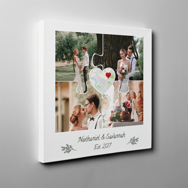 4th Anniversary 4 Photos Puzzle Collage Canvas Print