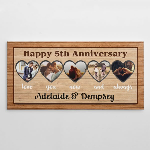 Happy 5th Anniversary Love You Now And Always Photo Collage Canvas Print