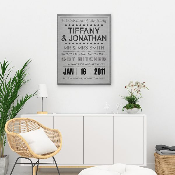 In Celebration of the Lovely Couple Names 10th Anniversary Canvas Print