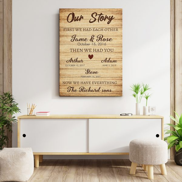 Our Story Personalized 5th Anniversary Canvas Print Hanging On the Wall