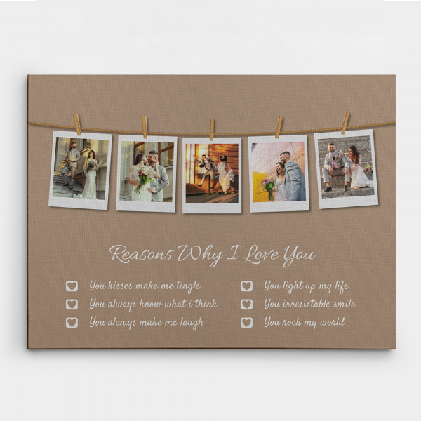 Reasons Why I Love You Photo Collage Canvas Print