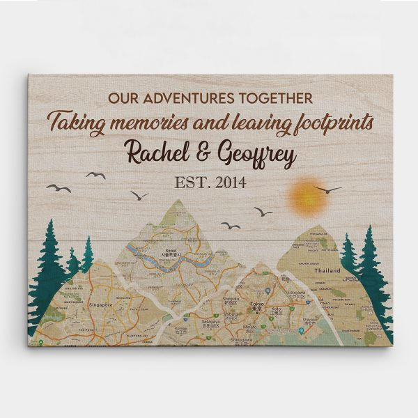 Taking Memories And Leaving Footprints Map Canvas Print