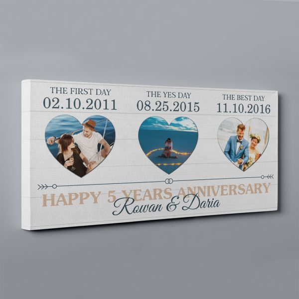 First Day, Yes Day, Best Day 5 Years Photo Custom Canvas Print