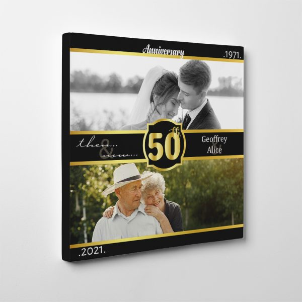 50th Wedding Anniversary Then And Now Photo Canvas Print