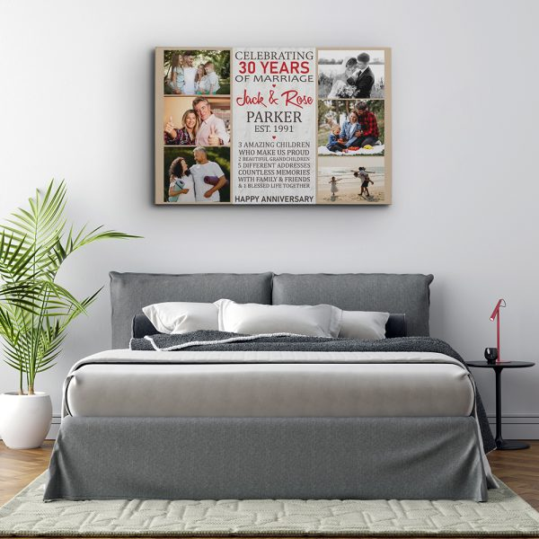 30 Years of Marriage Photo Collage Canvas Print