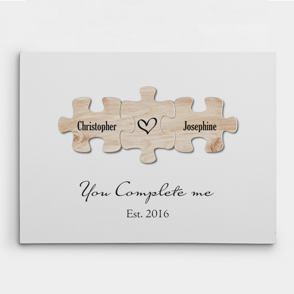 """""""You Complete Me"""" Puzzle Canvas Print - 5th Anniversary Gifts"""